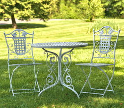Round Iron Bistro Table and Square Chair Set, 1 Table & 2 Chairs, Antique White - Triple Blessings