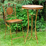"3 Piece Iron Bar Set ""Valiko"" - Basket Weave Textured Bar Table and Two Bar Stools - Triple Blessings"