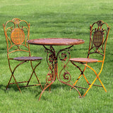 "3 Piece Iron Bistro Set ""Valiko"" - Basket Weave Textured Table and Two Chairs - Triple Blessings"