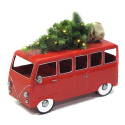 Holiday Red Van Bus Car with LED Christmas Tree - Triple Blessings