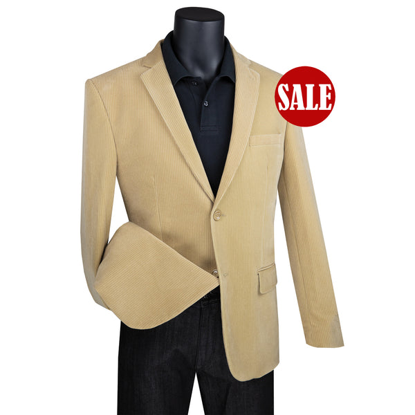 SALE! Sharp Men's Luxurious Modern Fit Corduroy Jacket - KHAKI