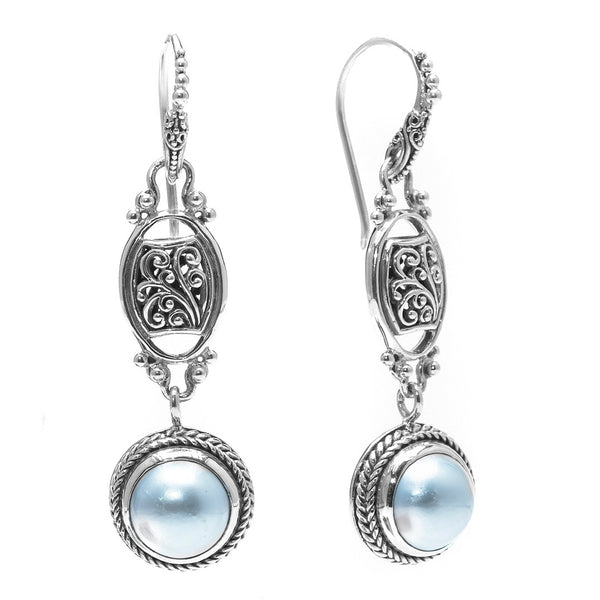 Precious Sarda .925 Sterling Silver White Mabe Pearl Dangle Earrings