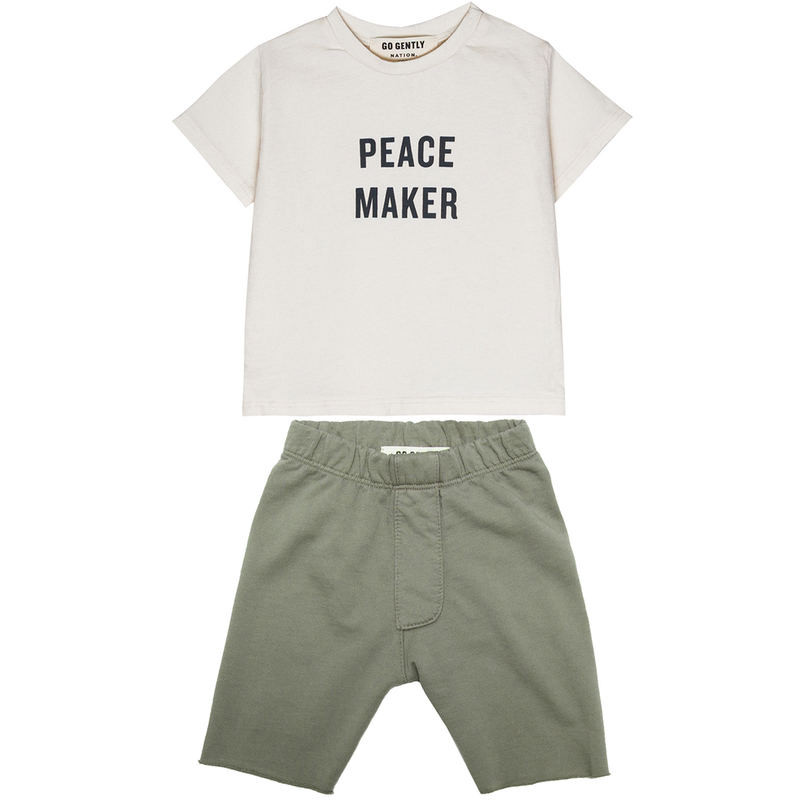 yoya, kids, baby, boys, go gently nation, summer, casual, slogan, t-shirts, pull on, sweat shorts, outfit, set