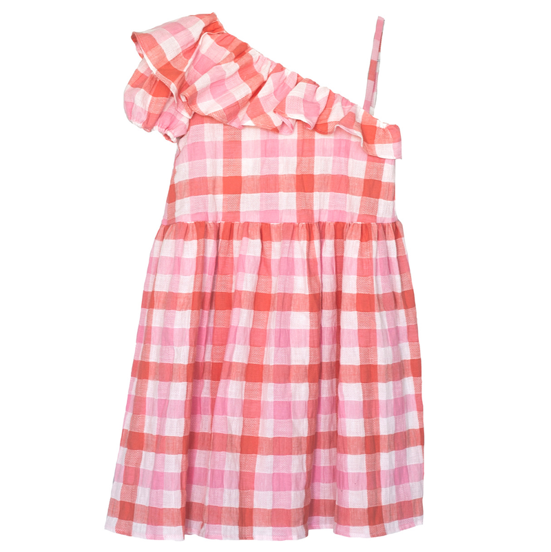 yoya, kids, girls, cosmosophie, lightweight, summer, casual, gingham, ruffled, one shouldered, dress