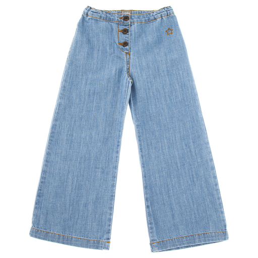 yoya, kids, girls, tocoto vintage, summer, casual, button fly, wide leg, high waisted, denim jeans