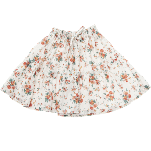 yoya, kids, girls, tocoto vintage, summer, casual, graphic printed, floral, elastic waisted, tiered, midi skirt