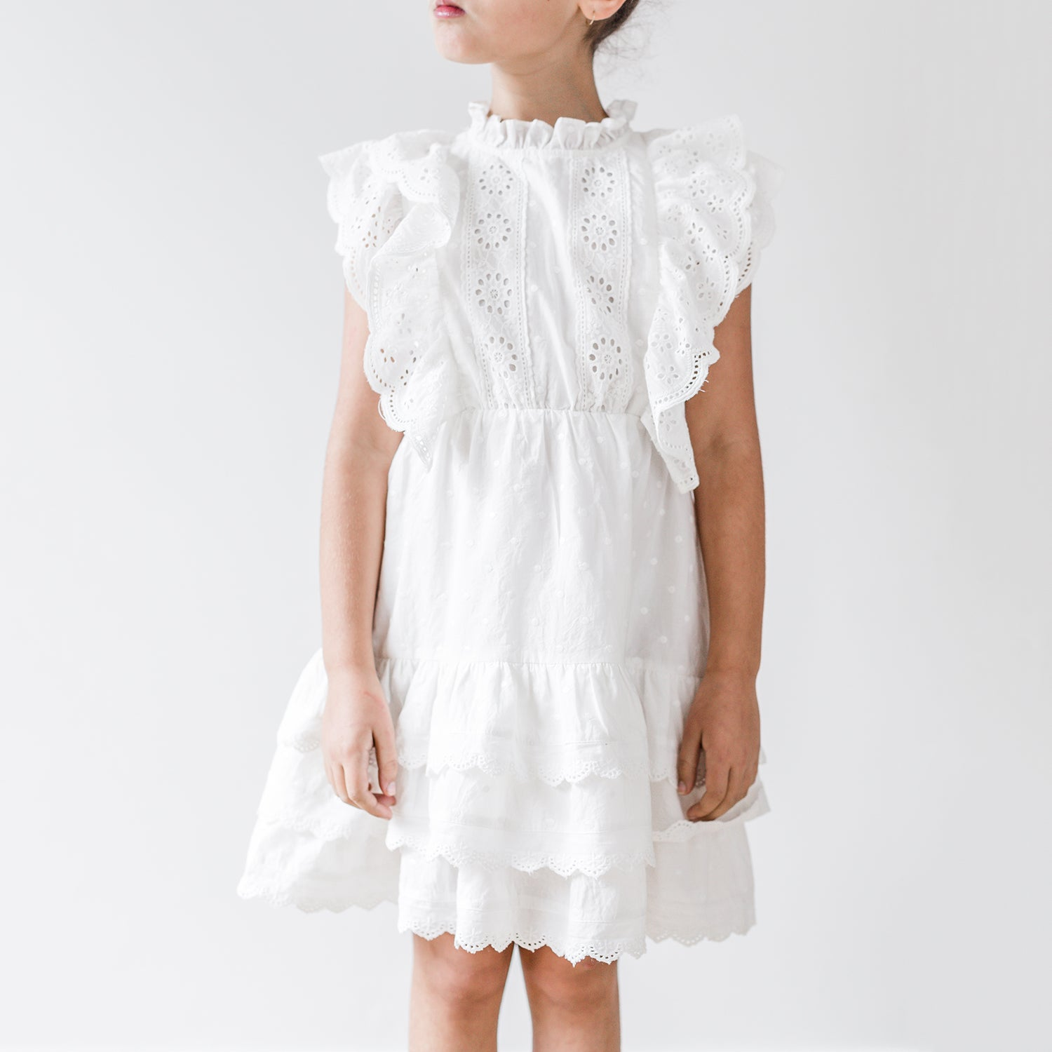 yoya, kids, girls, petite amalie, summer, lightweight, dressy casual, embroidered, eyelet lace, ruffle shoulder, sleeveless, tiered, flounce, midi dress