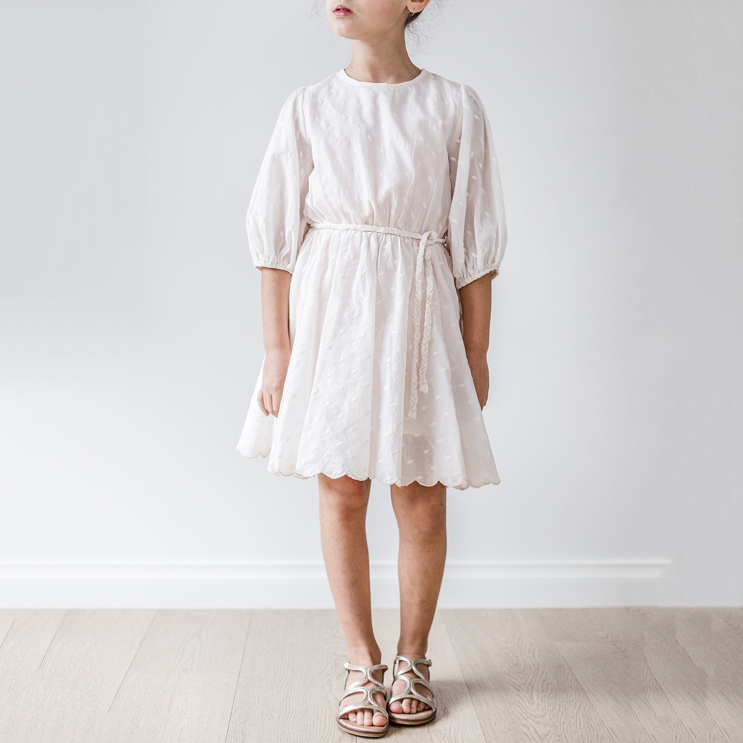 yoya, kids, girls, petite amalie, summer, lightweight, long sleeved, embroidered, tie-waist, scalloped hem midi dress