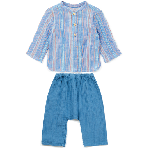 yoya, kids, baby, boy, girl, bonton, lightweight, summer, band collar, button front, shirt, harem pants, casual, outfit, set