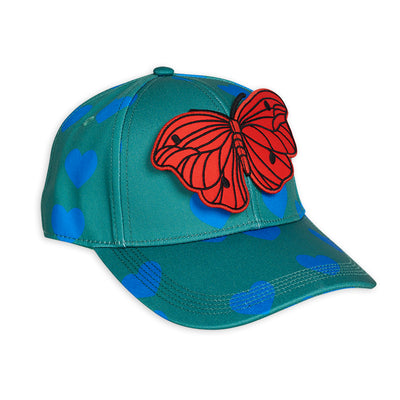 yoya, kids, girls, mini rodini, summer, casual, graphic print, butterfly, baseball cap, hat, accessories