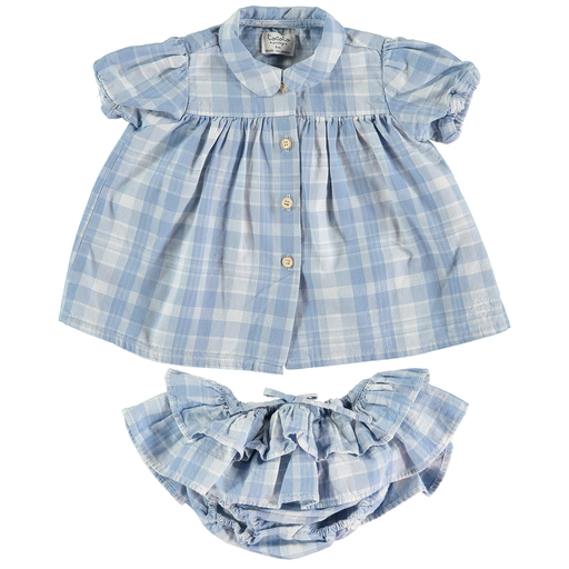 tocoto vintage checks and ruffles baby dress set