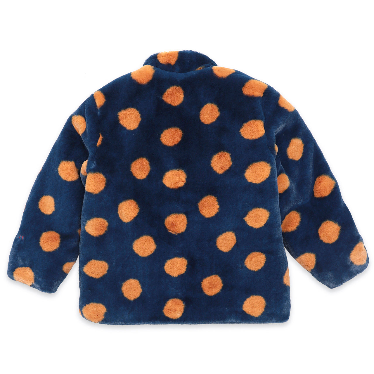 bobo choses spray dots faux fur jacket