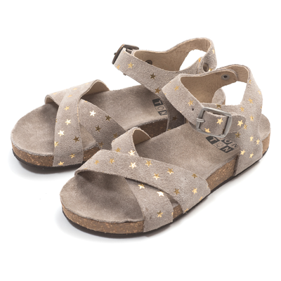 yoya kids childrens girls bonton crossed stars sandals taupe suede star buckle summers sandals casual shoes