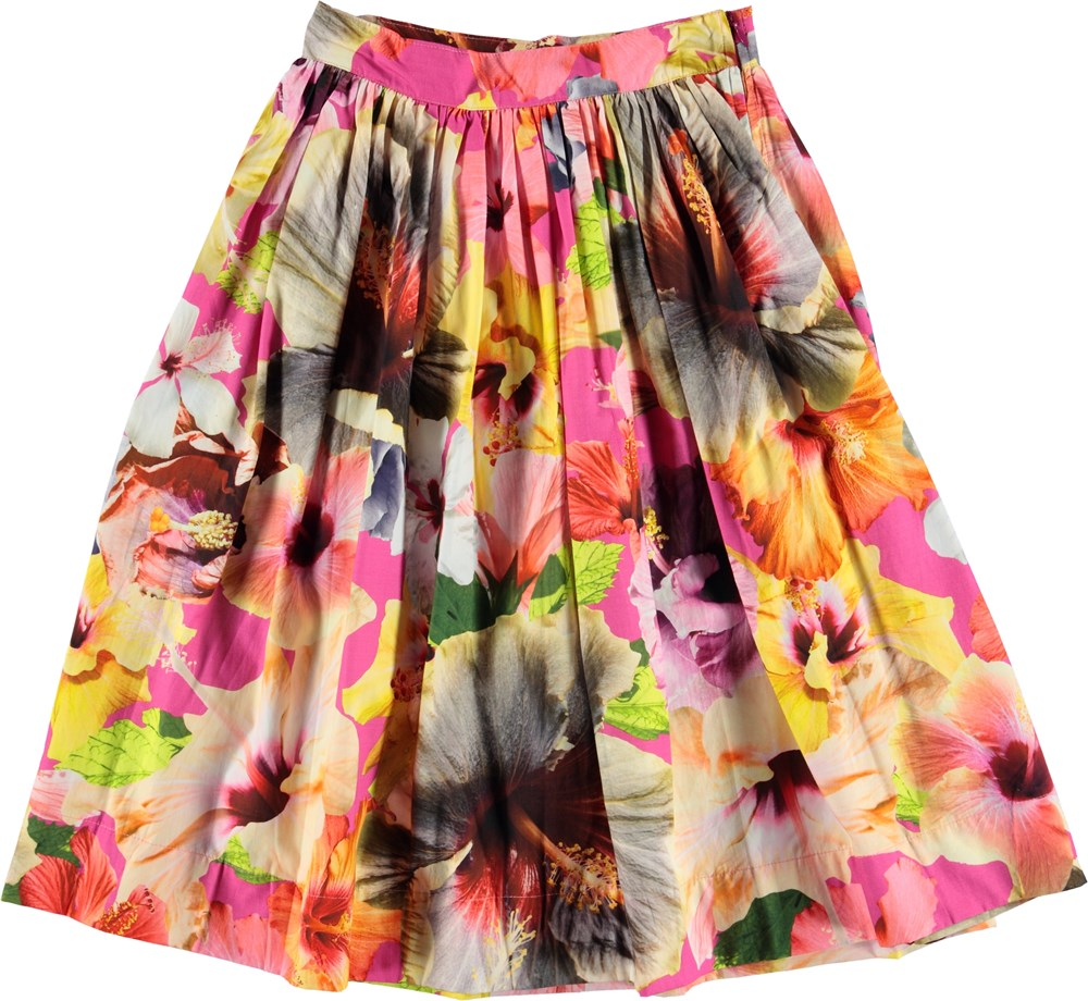yoya, kids, girls, molo, summer, casual, tropical, graphic printed, pleated, maxi skirt