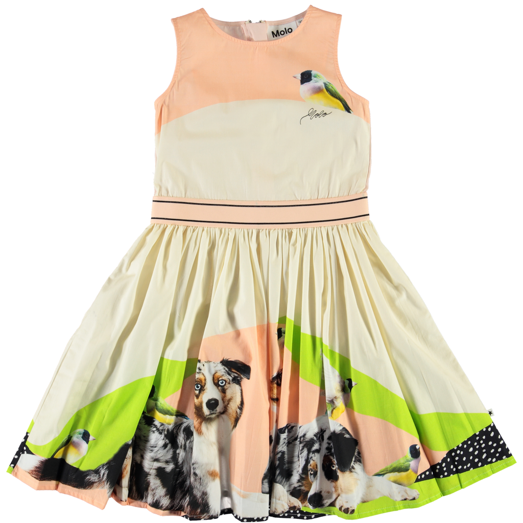 yoya, kids, girls, molo, summer, fit and flare, graphic printed, full skirted, sleeveless dress