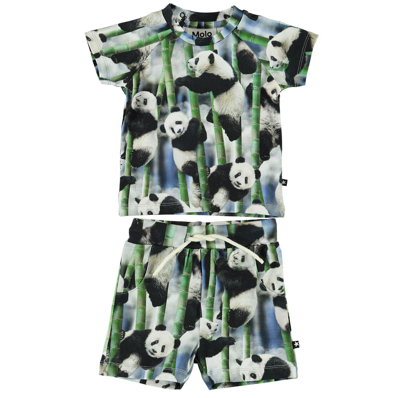 yoya, kids, baby, girls, boys, molo, summer, lightweight, graphic print, casual, lounge, t-shirt, pull on, drawstring, pull on, shorts, outfit set