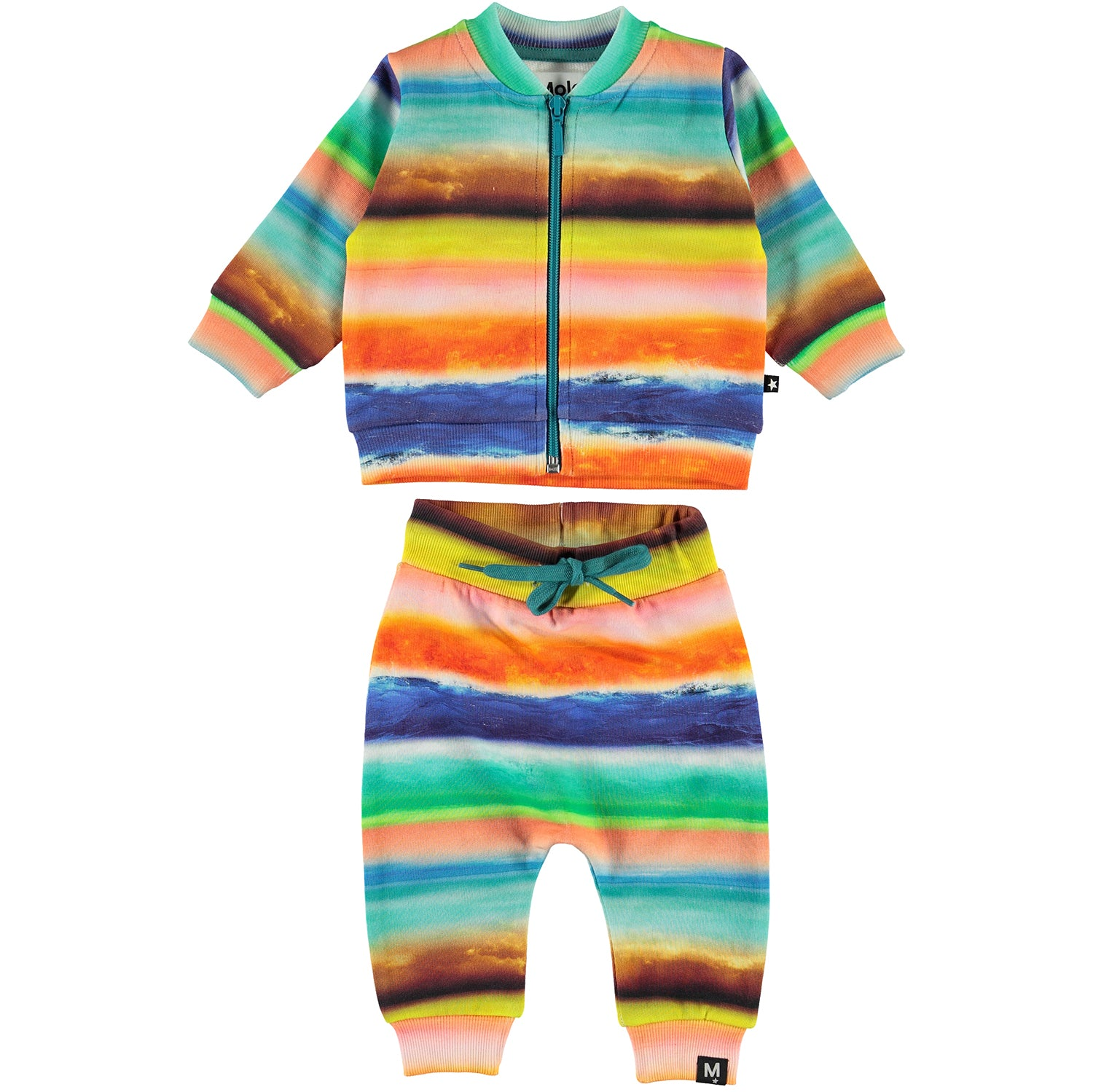 yoya, kids, baby, boys, girls, molo, summer, lightweight, casual, graphic printed, zip front, sweatshirt, pull on, drawstring, sweat pants, outfit set
