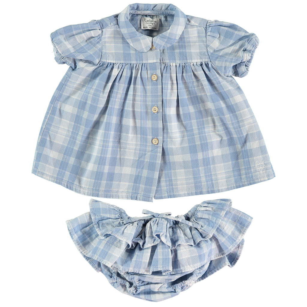 yoya, kids, baby, girls, tocoto vintage, summer, casual, collared, puff sleeve, button front, dress, ruffle bloomer, two piece, outfit set