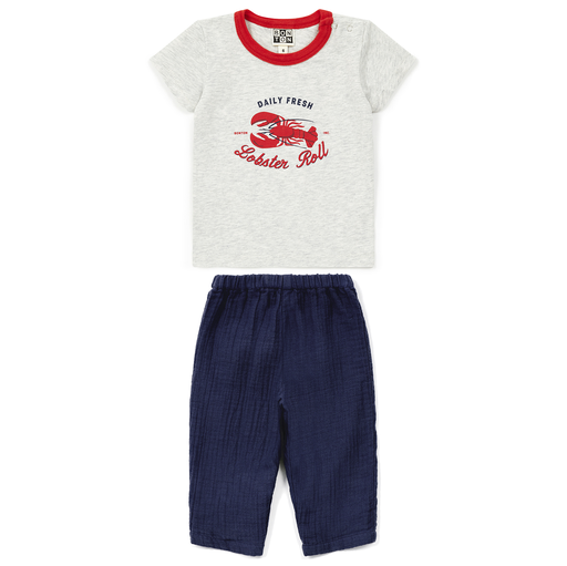 yoya, kids, baby, boys, girls, lightweight, summer, casual, lobster,  graphic print, t-shirt, harem pants, outfit, set