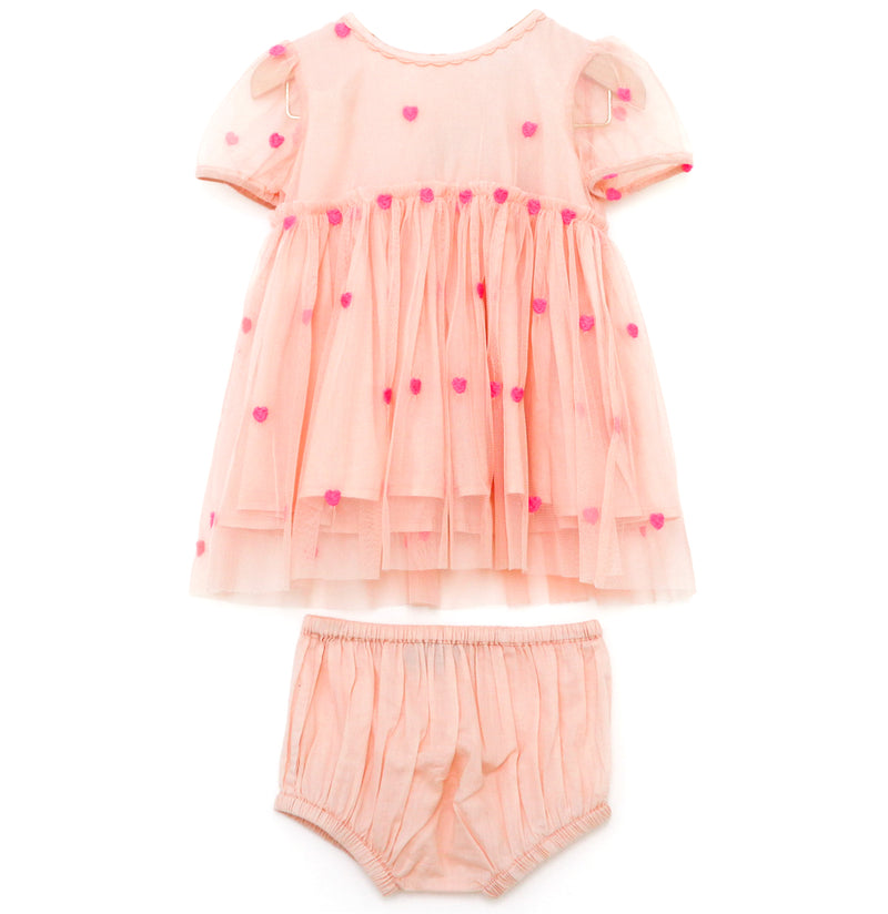 yoya, kids, baby, girls, stella mccartney, summer, embroidered, tulle, short sleeved dress, bloomers, outfit set