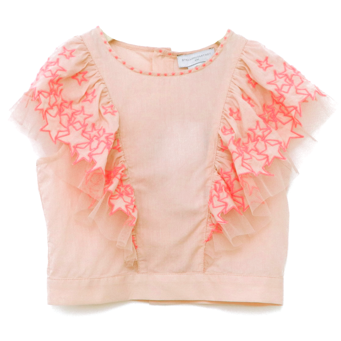 yoya, kids, girls, stella mccartney, summer, sleeveless, embroidered, ruffle shoulder, crop top
