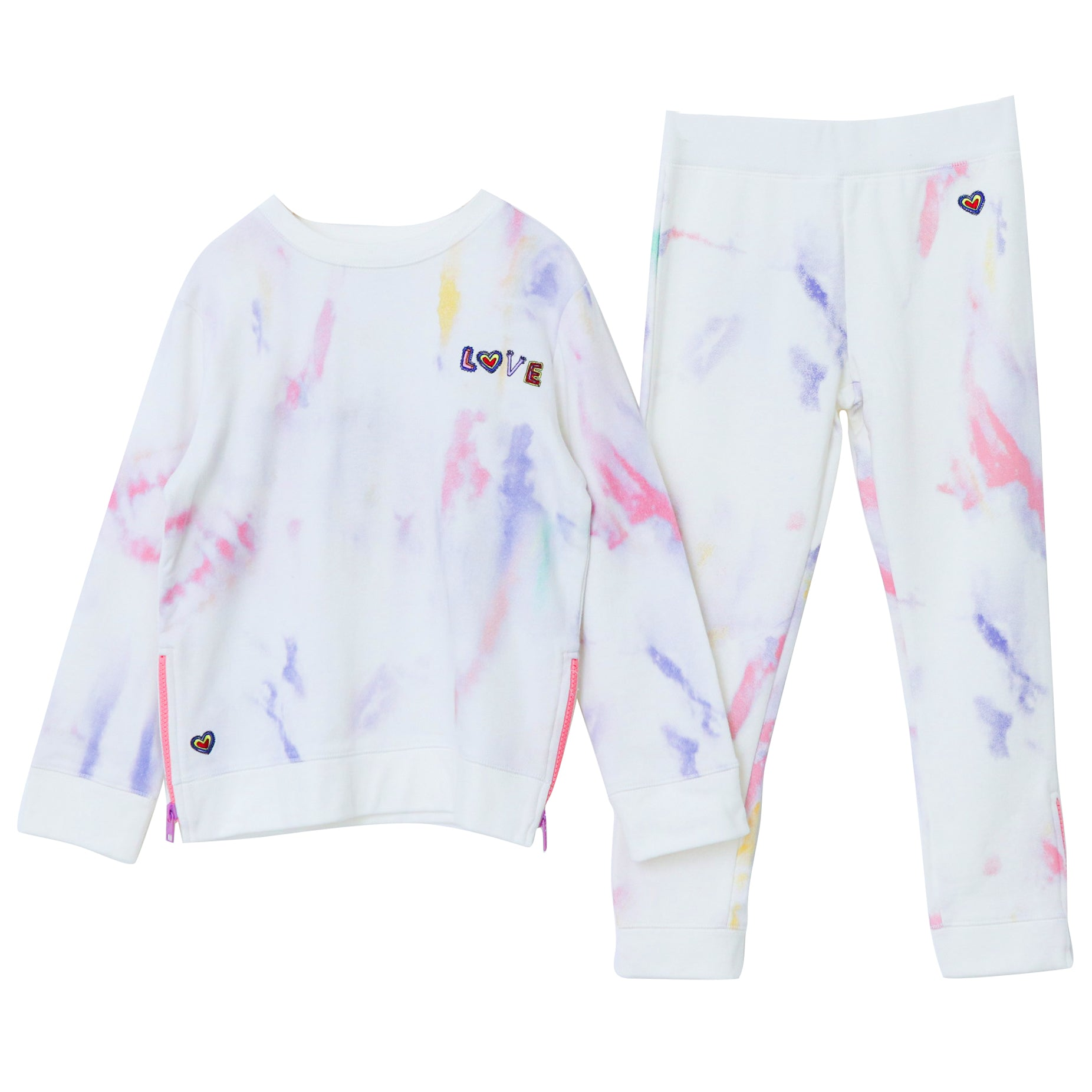 yoya,kids, girls, stella mccartney, summer, lightweight, casual, lounge, tie dye, embroidered, slogan, sweat shirt, joggers, outfit, set
