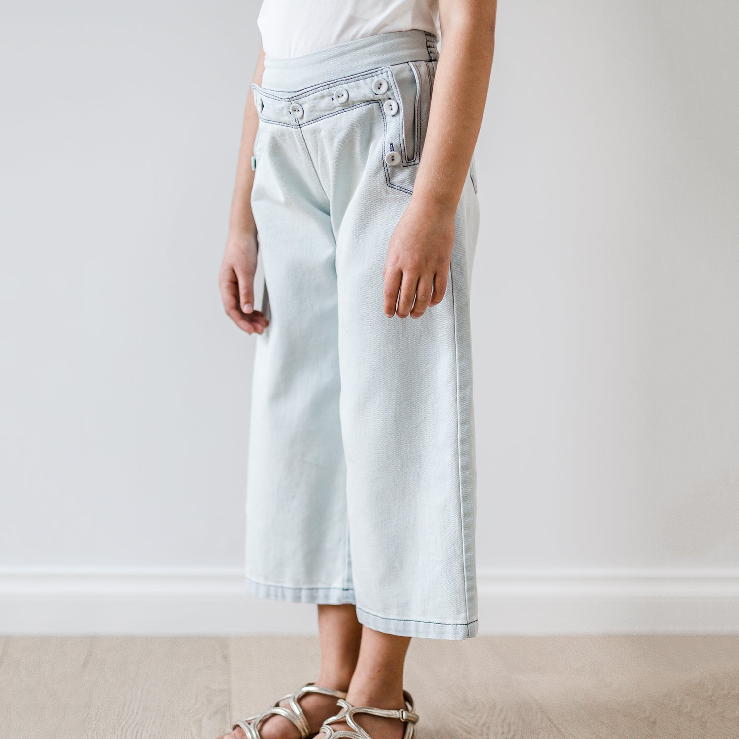 yoya, kids, girls, petite amalie, summer, lightweight, button front, wide leg, denim, sailor pants, jeans