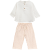 yoya, kids, baby, boys, girls, go gently nation, gauzy cotton, button front, long sleeved shirt, drawstring, wide leg pants, outfit, set