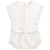 tocoto vintage lace top and bloomers baby set