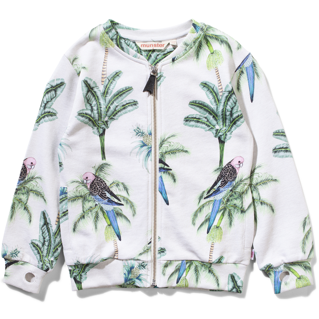 munsterkids tropic bloom zip sweater
