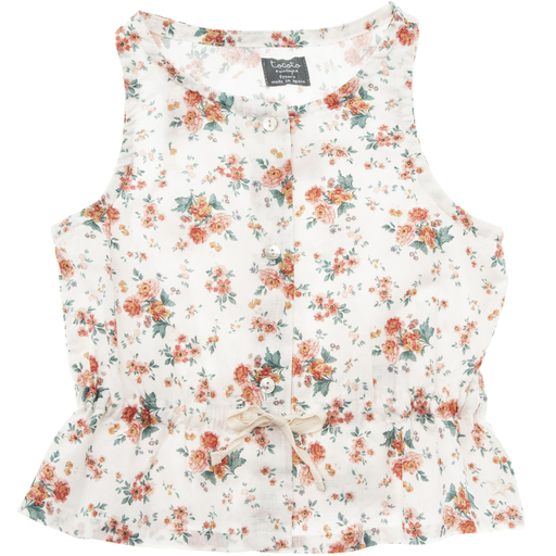 yoya, kids, girls, tocoto vintage, summer, casual, floral printed, sleeveless, button front, tank top