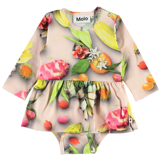 yoya, kids, baby, girls, molo, casual, lounge, graphic printed, long-sleeved, skirted bodysuit, onesie