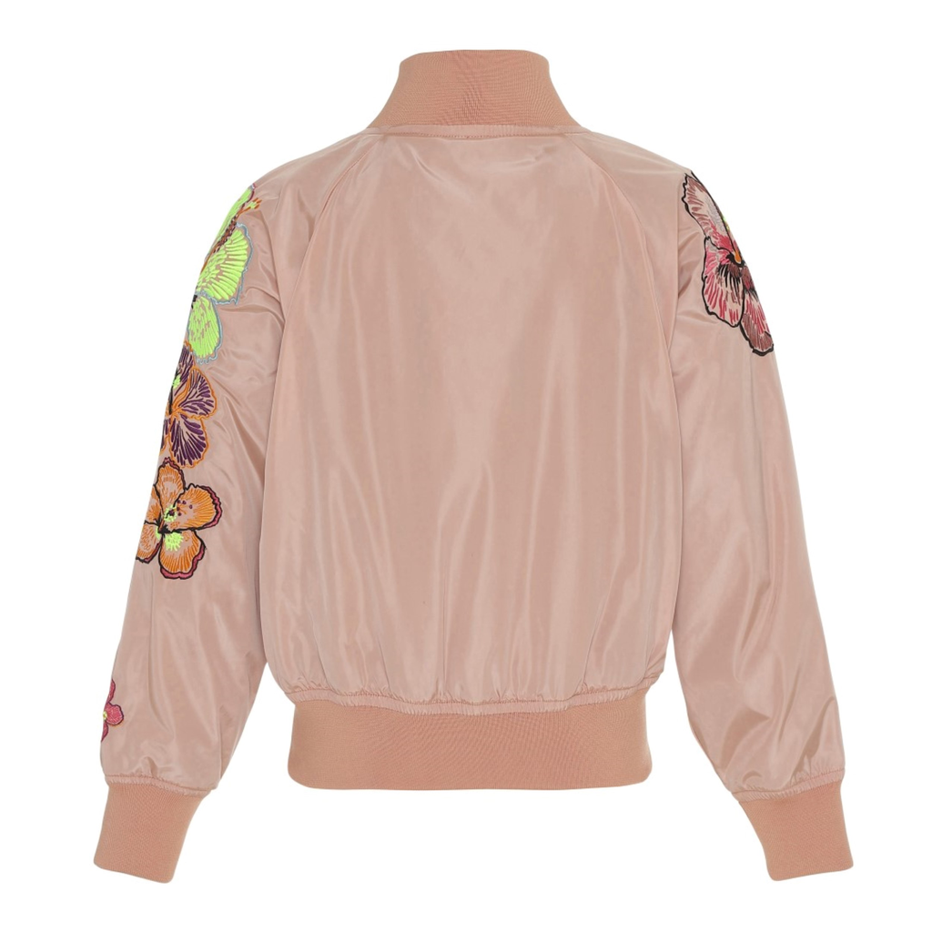 yoya, kids, girls, molo, lightweight, summer, floral, appliqués, zip up, bomber jacket