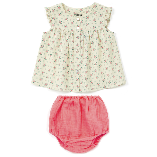 yoya, kids, baby, girls, bonton, lightweight, summer, casual, floral print, ruffle shoulder, swing top, bloomer, outfit, set