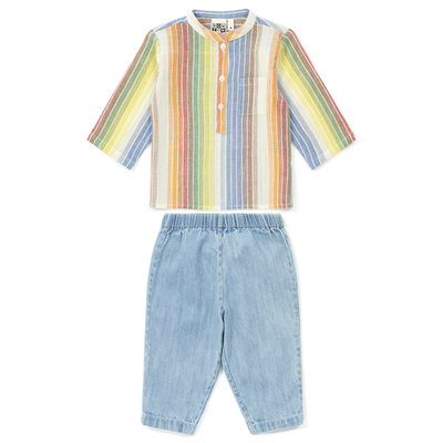 yoya, kids, baby, boys, girls, bonton,  lightweight, casual, summer, band collar, button front, chambray, pants, outfit, set