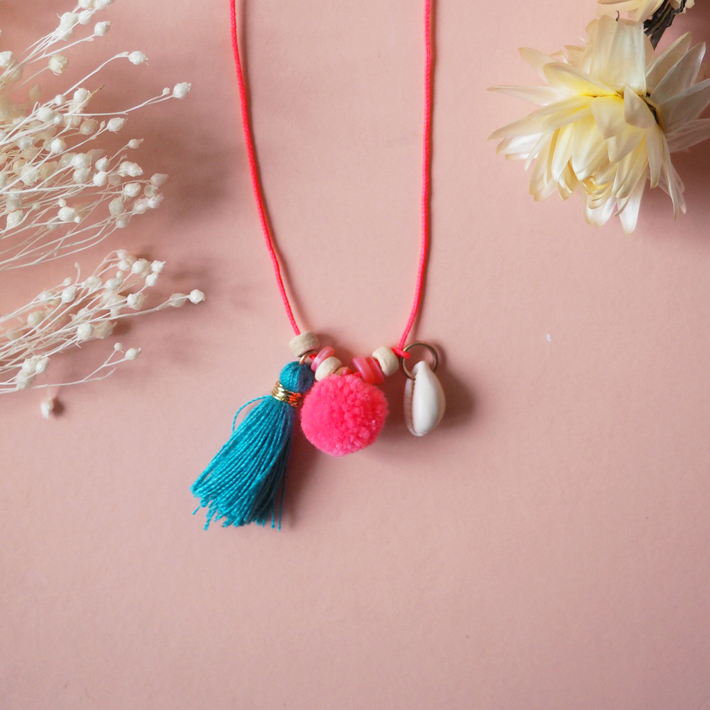 yoya kids louise misha ekomai necklace tassel pompom shell accessory jewelry more colors