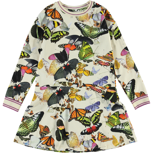yoya, kids, girls, molo, long sleeved, lightweight, summer, casual, cotton jersey, graphic printed, fit and flare dress