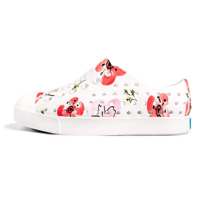 yoya kids native jefferson printed slip-ons white painted blossoms summer casual
