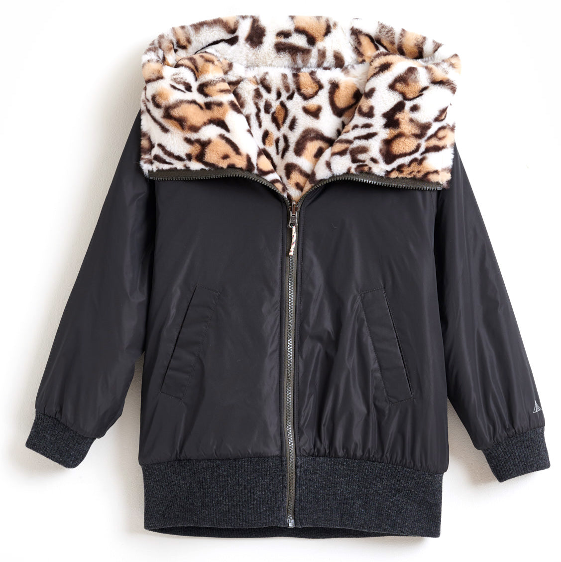 bellerose reversible faux fur hooded jacket
