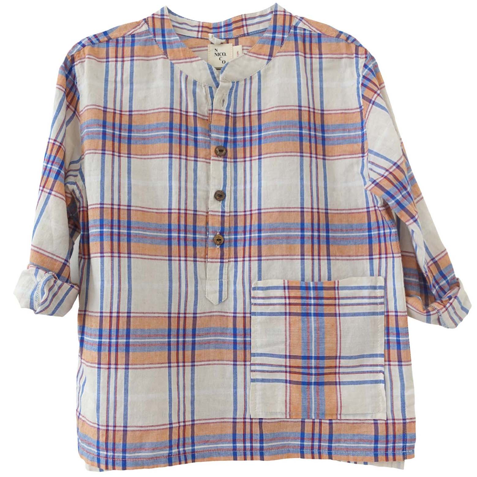 yoya, kids, boys, nico nico, summer, button front, band collar, half placket, plaid, henley, popover, pocket, shirt