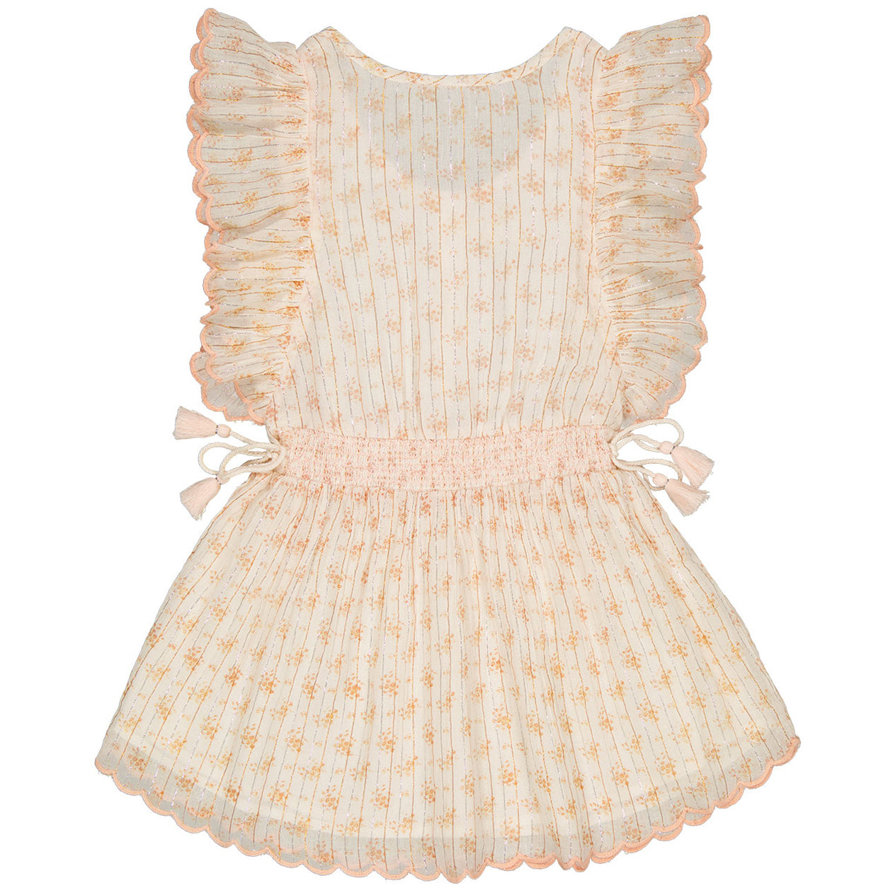 yoya, kids, girls, louis louise, casual, summer, boho, sleeveless, ruffle shoulder, tie waist, drop waist, dress