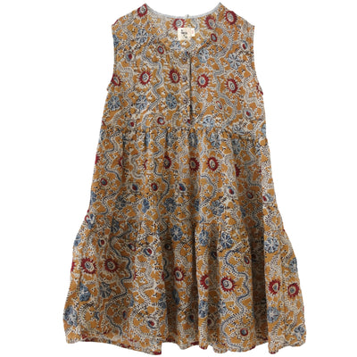 yoya, kids, girl, nico nico, summer, lightweight, casual, coverup, sleeveless, tiered, graphic printed, floral, paisley, midi dress