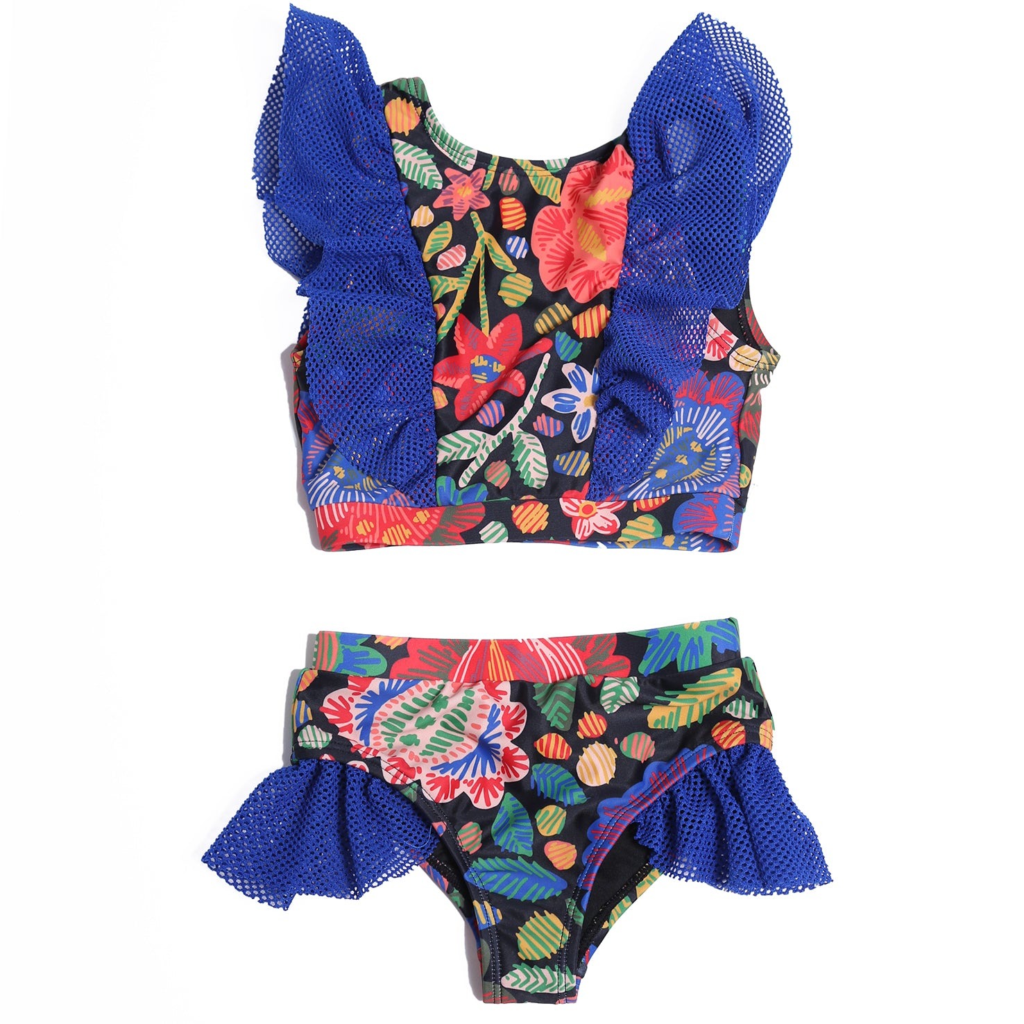yoya, kids, girls, tia cibani, summer, lightweight, casual, graphic print, mesh, ruffle shoulder, tankini, two piece, swim, bathing suit