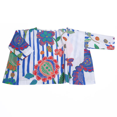 yoya, kids, girls, tia cibani, summer, lightweight, casual, graphic print, floral, boxy, boatneck, tunic, shirt