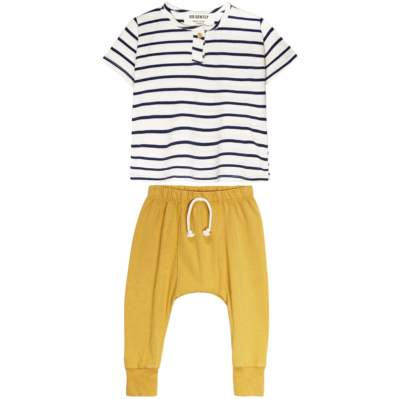 yoya, kids, baby, boys, girls, go gently nation, henley t-shirt, harem pants, outfit set