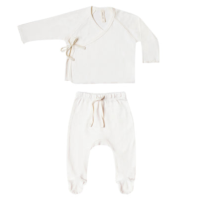 yoya, kids, baby, girls, boys, quincy mae, layette, lightweight, kimono top, footed pants, two piece, lounge, pajamas, outfit set