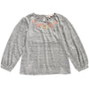 louise misha lazar t-shirt, linen, tops, girls, grey, embroidered