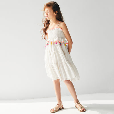 yoya, kids, girls, nellystella, girls, summer, dressy, casual, fruit, tasseled, tie shoulder, smocked midi dress