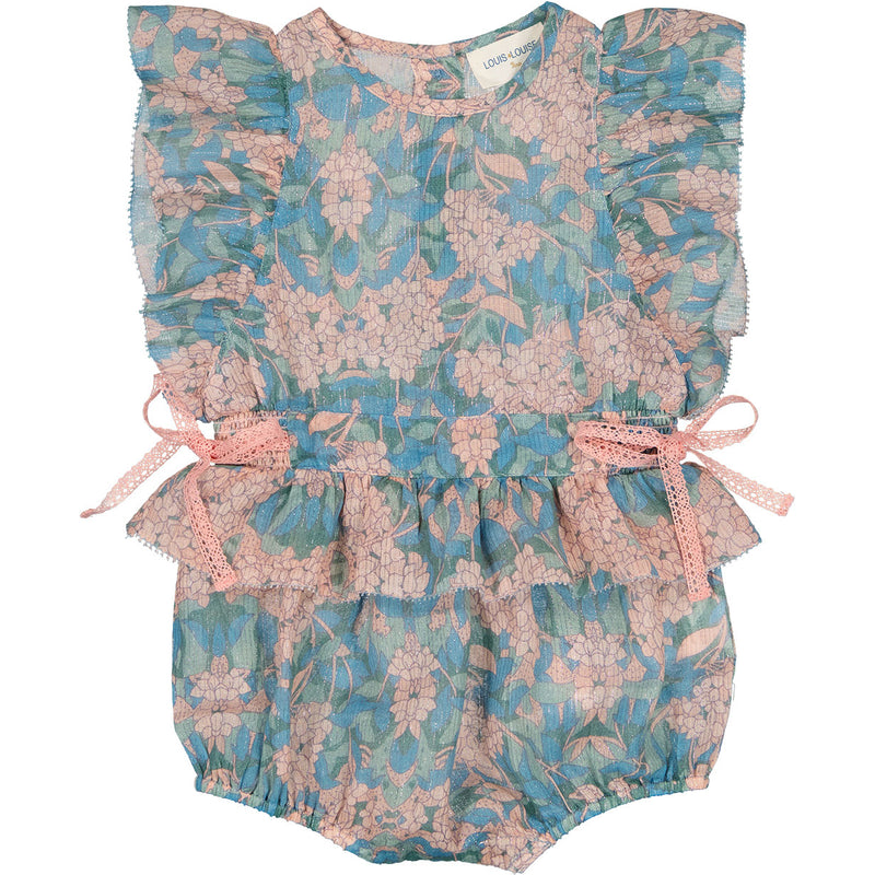 yoya, kids, baby, girls, louis louise, summer, dressy, ruffle shoulder, sleeveless, tie waist, bubble romper, outfit