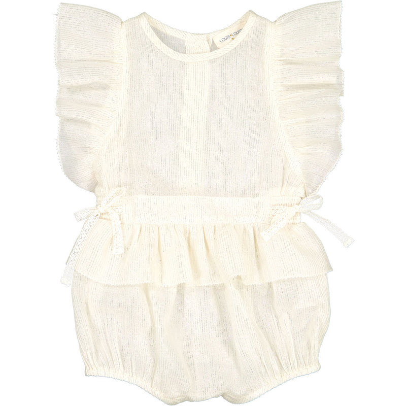 yoya, kids, baby, girls, louis louise, dressy, summer, ruffle shoulder, tie waist, sleeveless, bubble romper, outfit